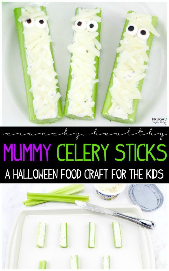 There's a healthy alternative to your sugary kids food crafts. These Celery Mumm...