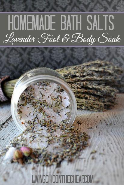 This is an EASY Beauty DIY! Homemade Bath Salts: Lavender Foot & Body Soak! Make...