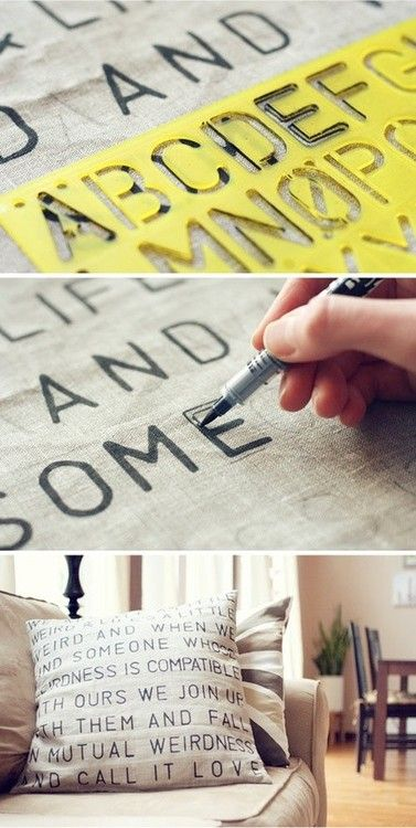 Try this: Sharpie and a plain pillowcase. Do with a favorite book quote, song ly...