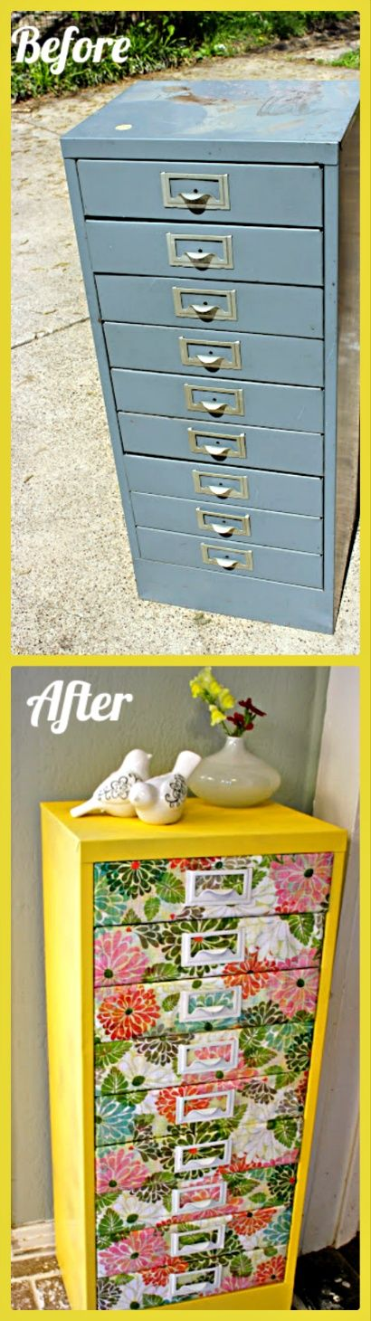 Upcycle a filing cabinet! This would be great for scrap booking paper if you lab...