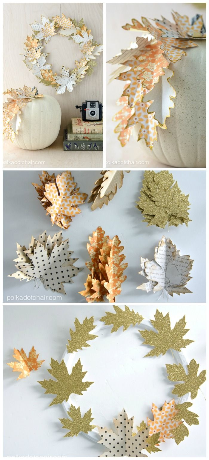 Diy Crafts Use Paper Leaves To Create A Simple Fall Wreath