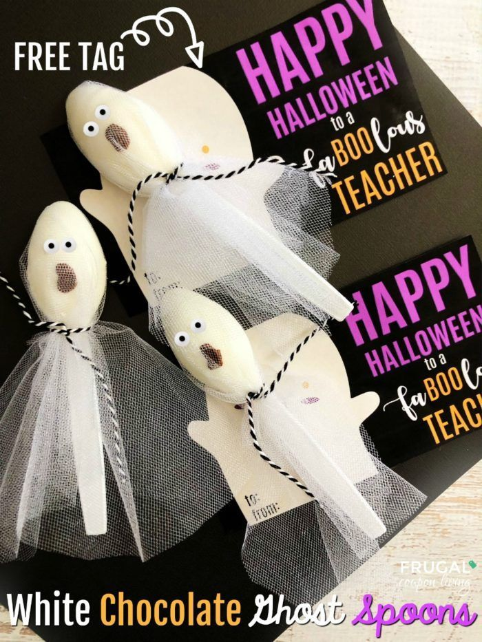 We have a Fa-BOO-lous teacher gift for Halloween. These White Chocolate Ghost Sp...