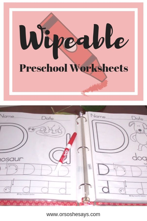 Wipeable Preschool Worksheets mean you only invest once in something your little...
