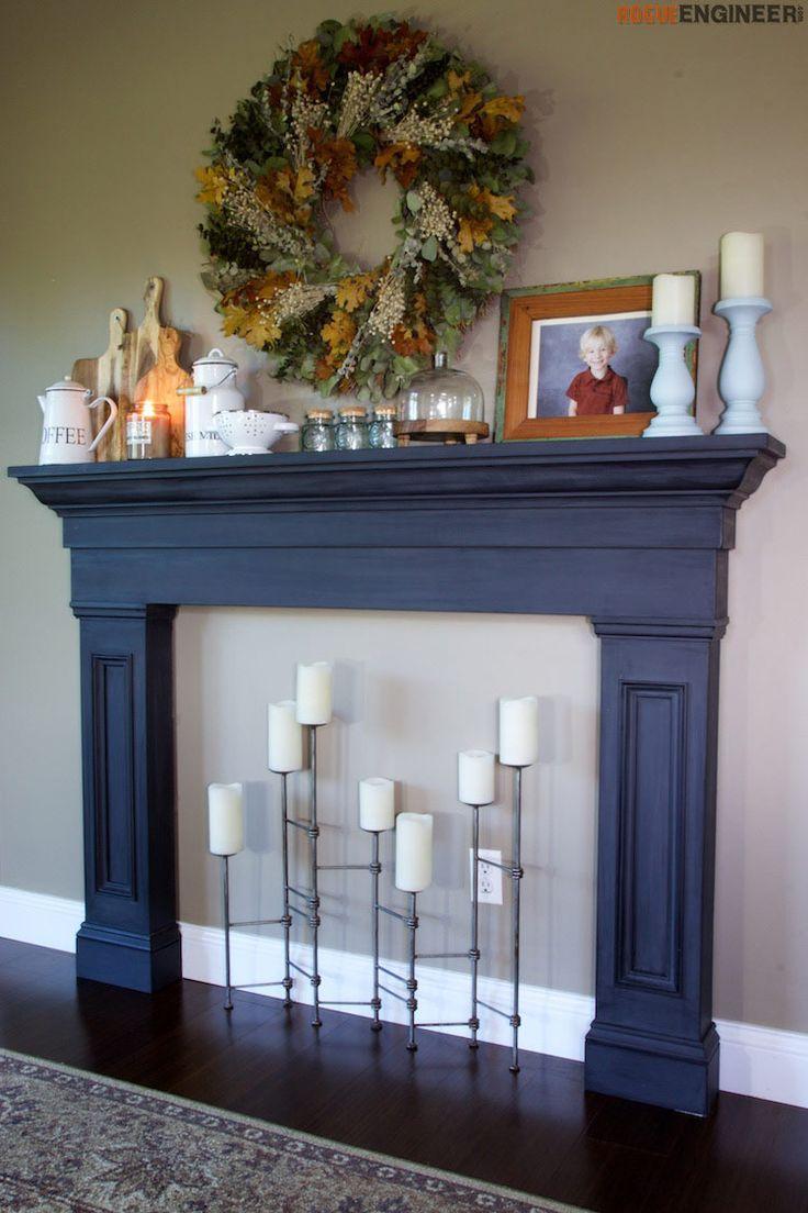 diy-faux-fireplace-surround - Free DIY plans | rogueengineer.com #FlauxFireplace...
