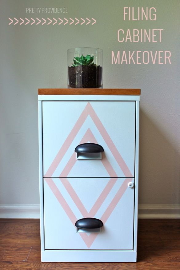 filing cabinet makeover! with a little paint, new hardware and a cute wood top y...
