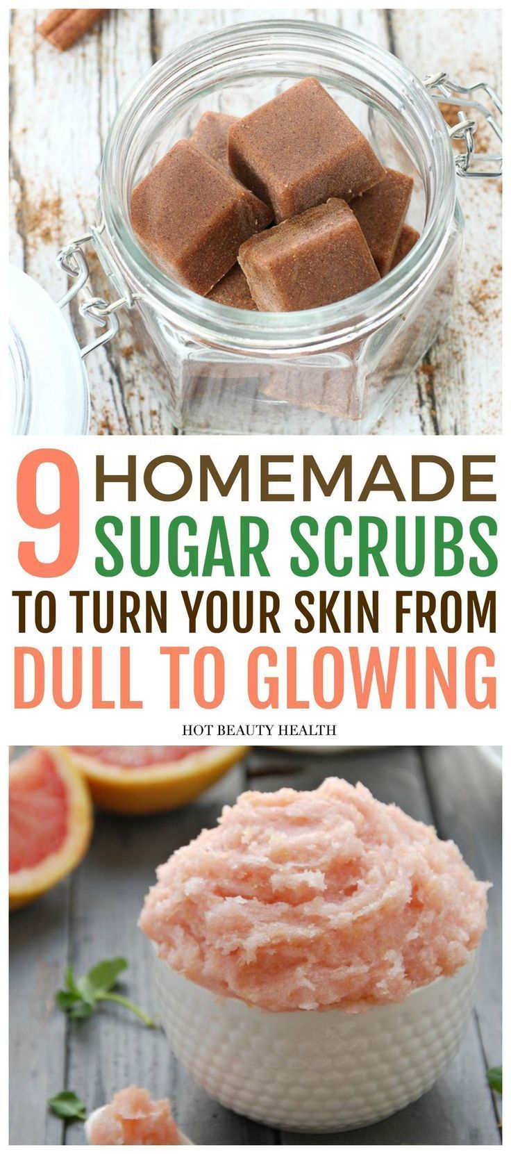 9 Easy DIY sugar scrub recipes for beautiful skin. These homemade body scrubs wi...