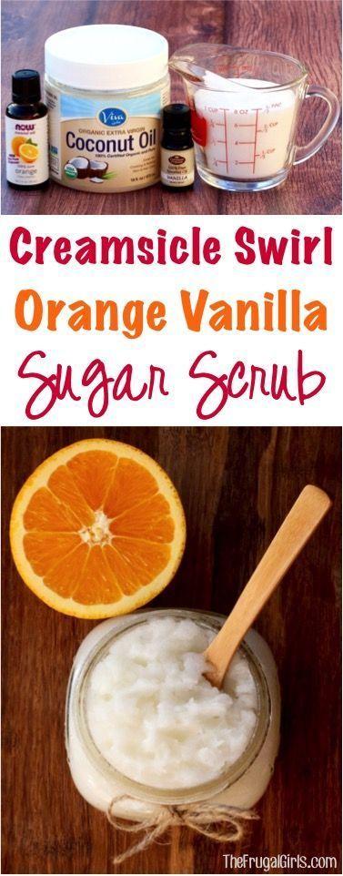 Creamsicle Swirl Orange Vanilla Sugar Scrub Recipe! ~ from TheFrugalGirls.com ~ ...