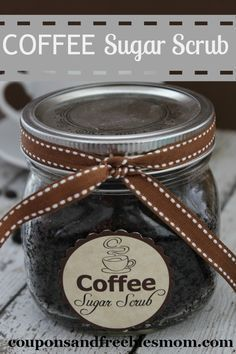 Homemade Coffee Sugar Scrub! Inexpensive yet luxurious gift idea! Quick and easy...