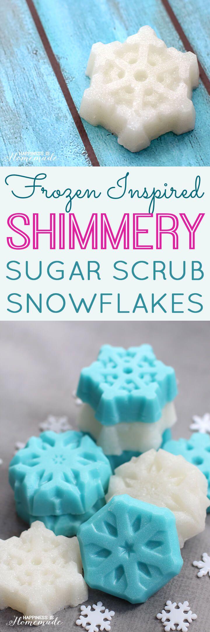 How to Make Frozen Inspired Shimmery Sugar Scrub Snowflake Bars