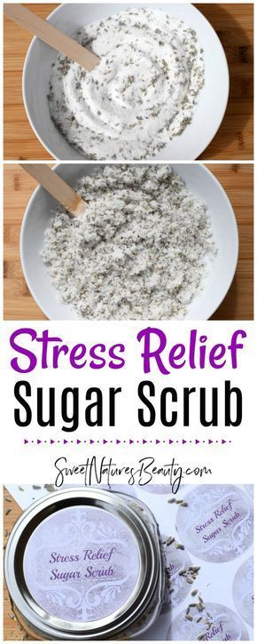 This Stress Relief Sugar Scrub has essential oils to calm the mind and body. Use...