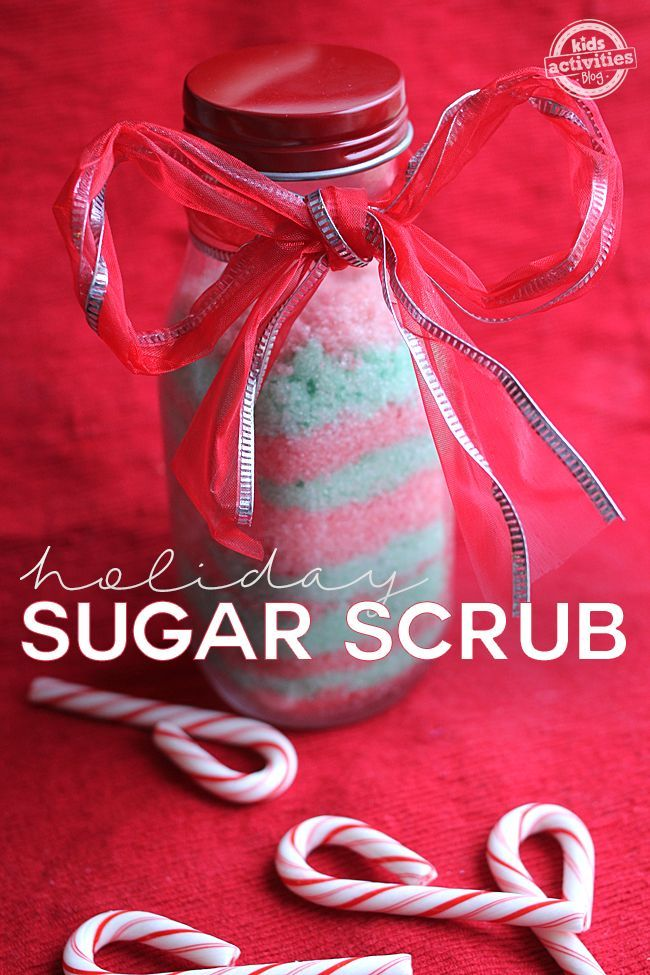 This sugar scrub recipe is perfect for the holidays. It is red and green and sce...