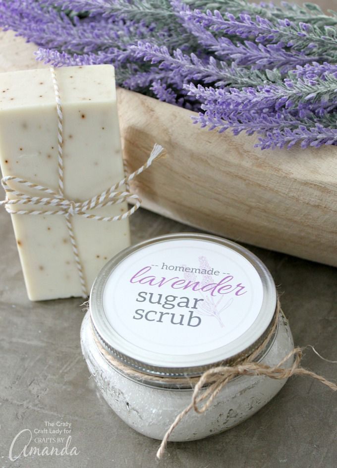 Treat mom or grandma for Mother's Day with this homemade lavender sugar scrub....