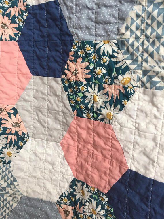 Baby Toddler Hexagon Quilt Blanket Girl Modern Patchwork Peach