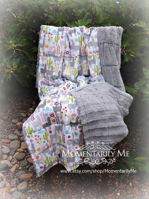 Double Minky Weighted Blanket 7-20 lbs-Llama Print