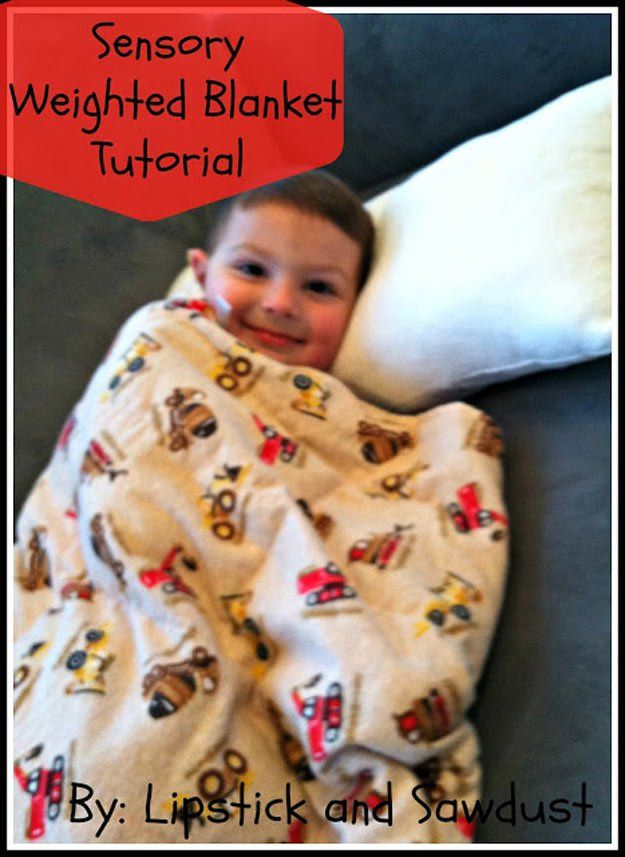 Easy Homemade DIY Weighted Blanket for Kids | diyprojects.com/...