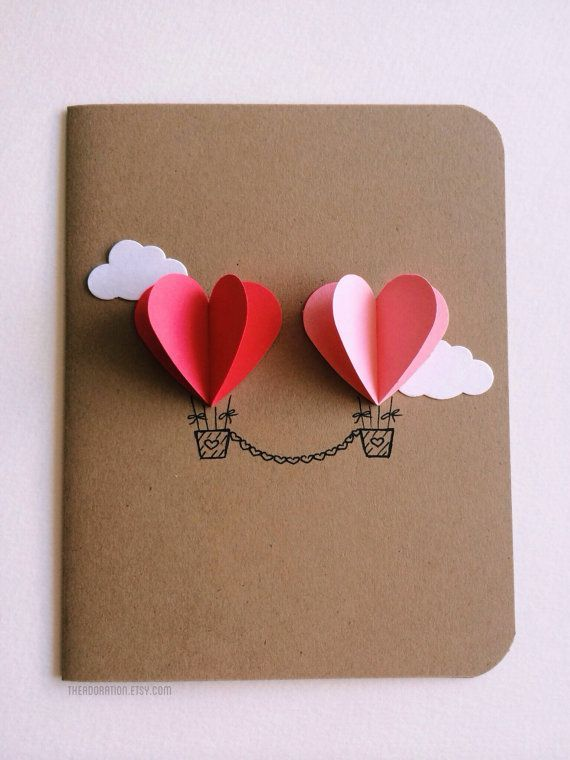 Couple Heart Hot Air Balloon Card - 25+ Easy DIY Valentine's Day Cards - NoBiggi...