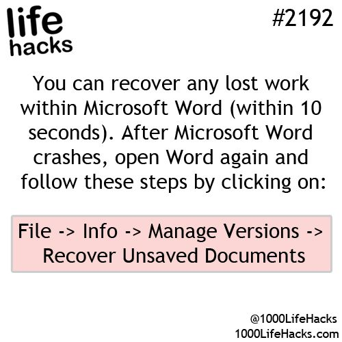 How to recover lost work in Microsoft Word...