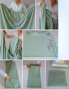 Properly fold a fitted sheet. | 20 Simple Tricks To Make Spring Cleaning So Much...
