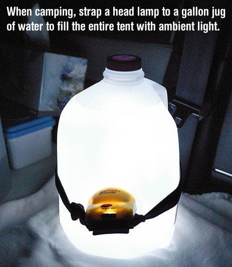 Strap a headlamp to a water jug for ambient light when camping...