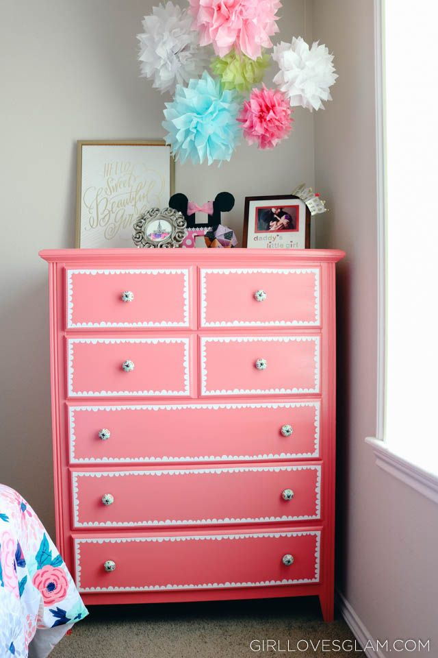 Adorable dresser makeover that brings a boring dresser into a pink, adorable foc...