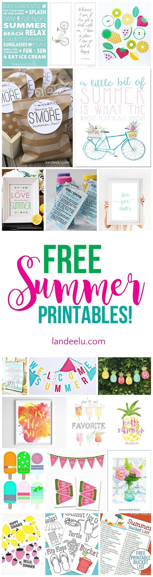 Awesome collection of free summer printables!  Games, banners, bucket lists and ...