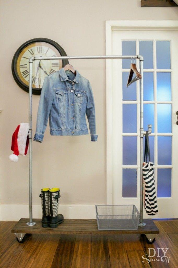 DIY Freestanding Mobile Pipe Coat Rack