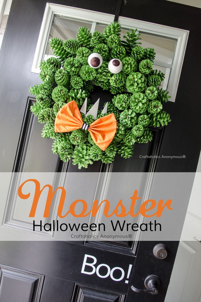 Diy Crafts Diy Halloween Monster Wreath Made With