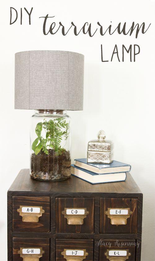 Easy DIY Terrarium Lamp   Stacy Risenmay #diylamp #diylampshade #lamp #terrarium...