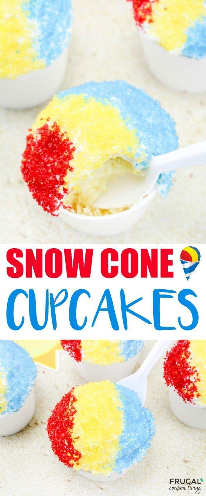 Enjoy the taste of summer with this dessert twist - Snow Cone Summer Cupcakes. M...