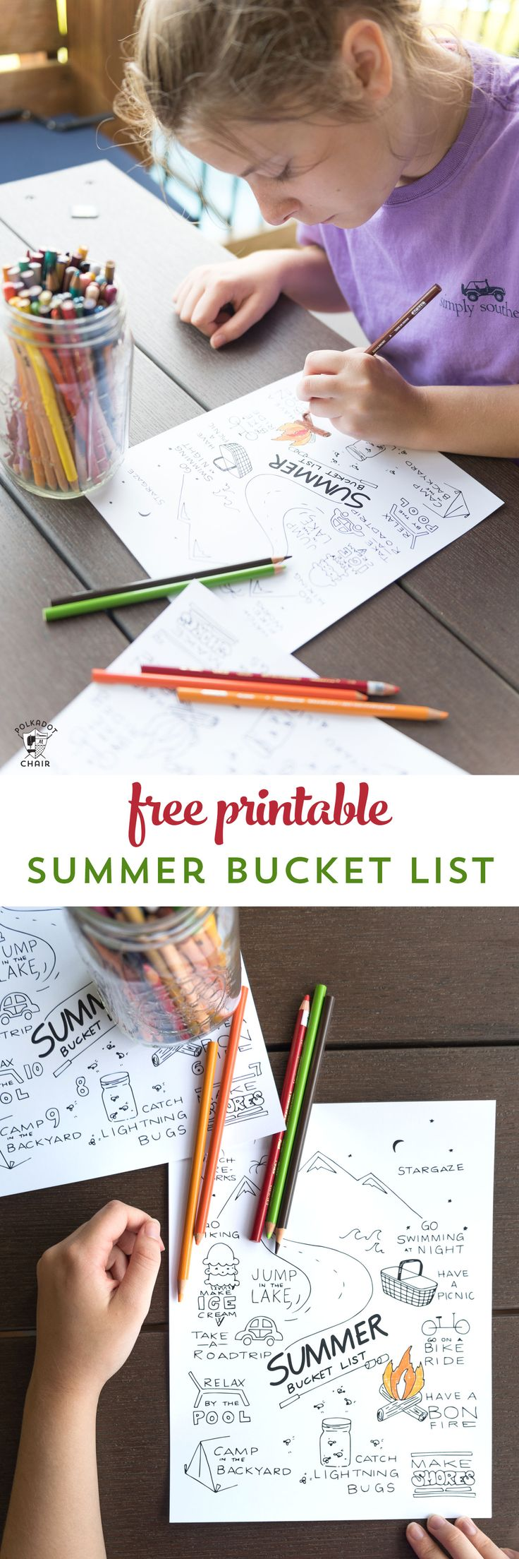Free Printable Summer Bucket list coloring sheet - such a fun idea for kids for ...