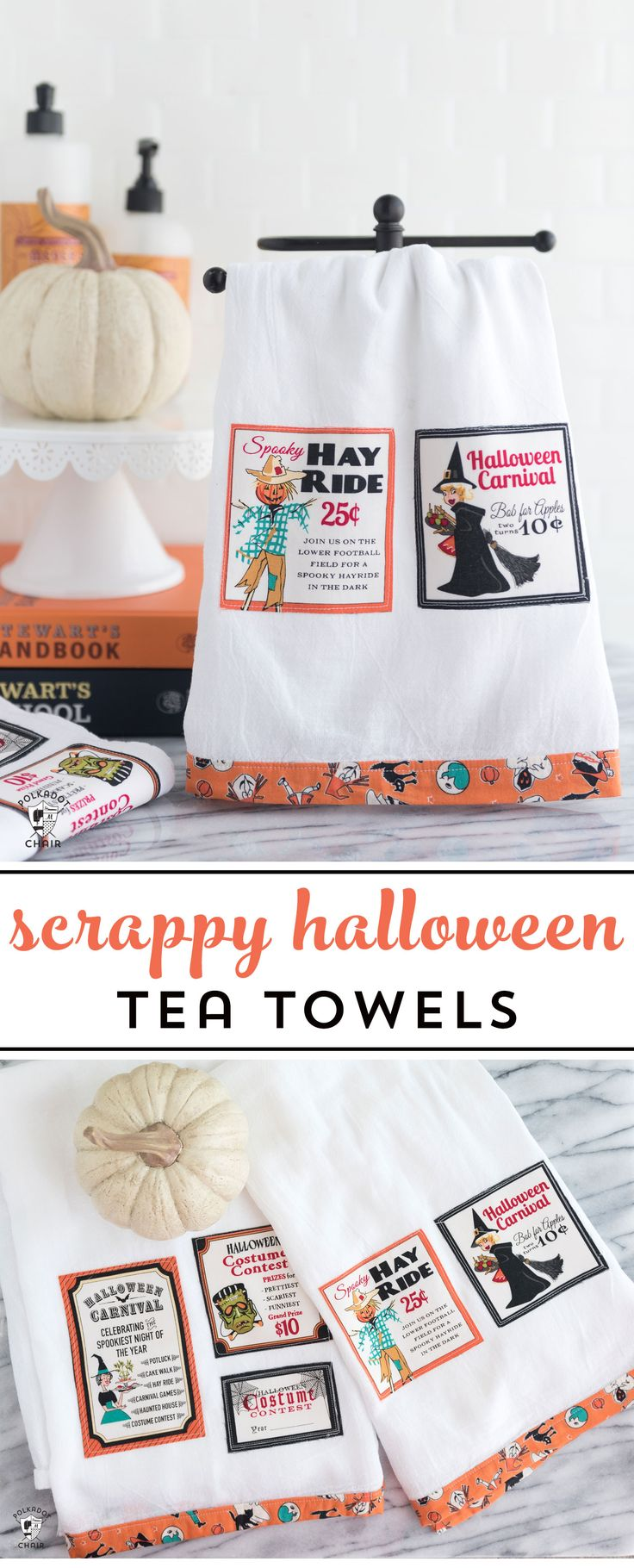 Free sewing tutorial for a DIY Halloween Tea Towel - such a cute project and a g...