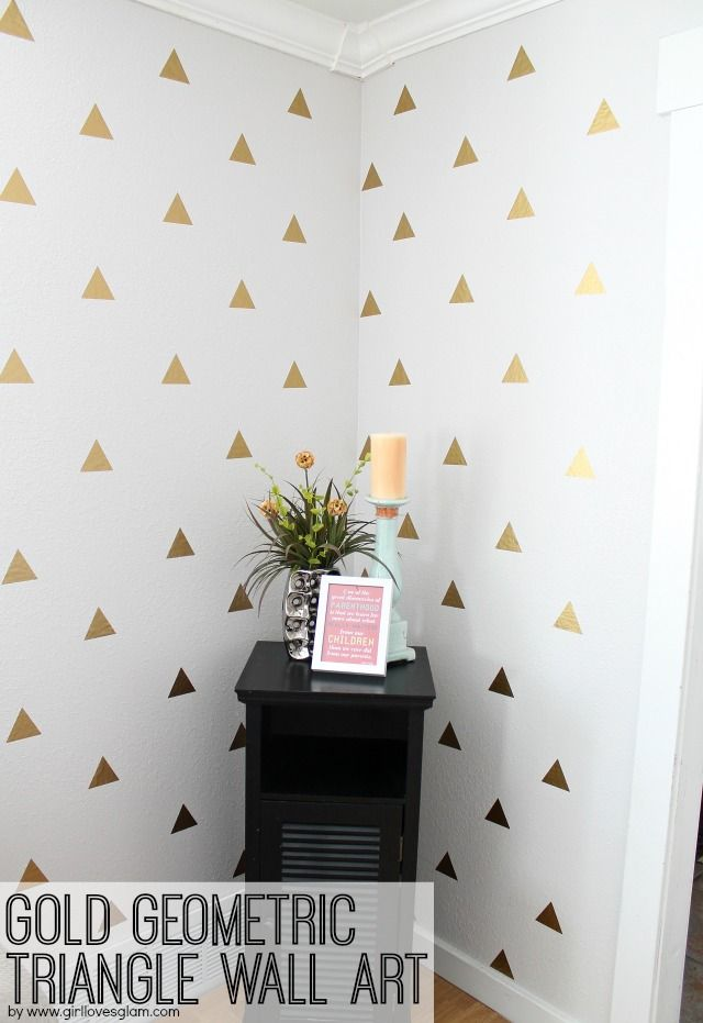 Gold geometric triangle decal wall art that is easy to create on your own. Make ...