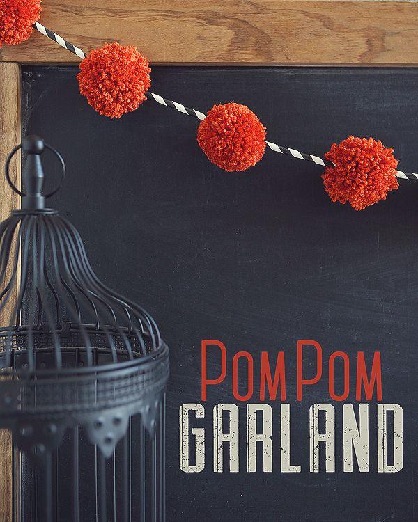 Halloween Pom Pom and Paper Straw Garland