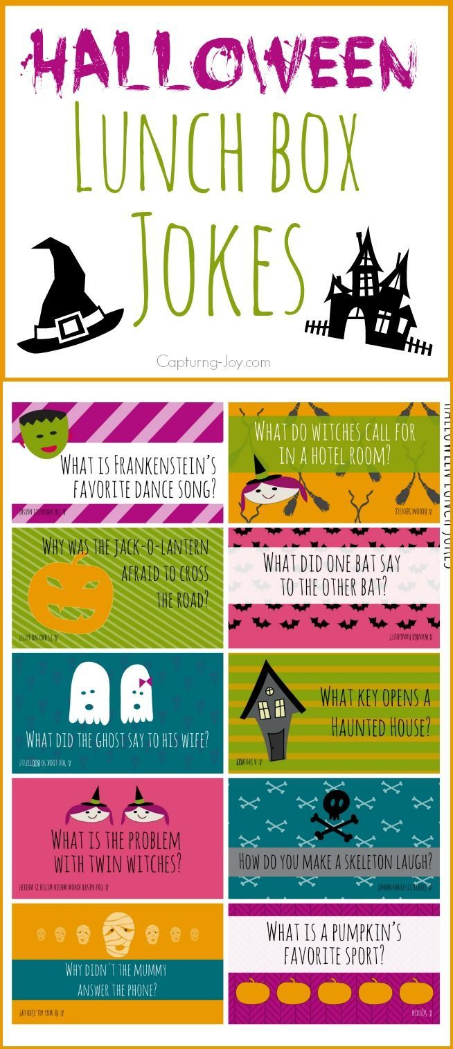 Halloween jokes to add to your kids' school lunchboxes. My family loves these lu...