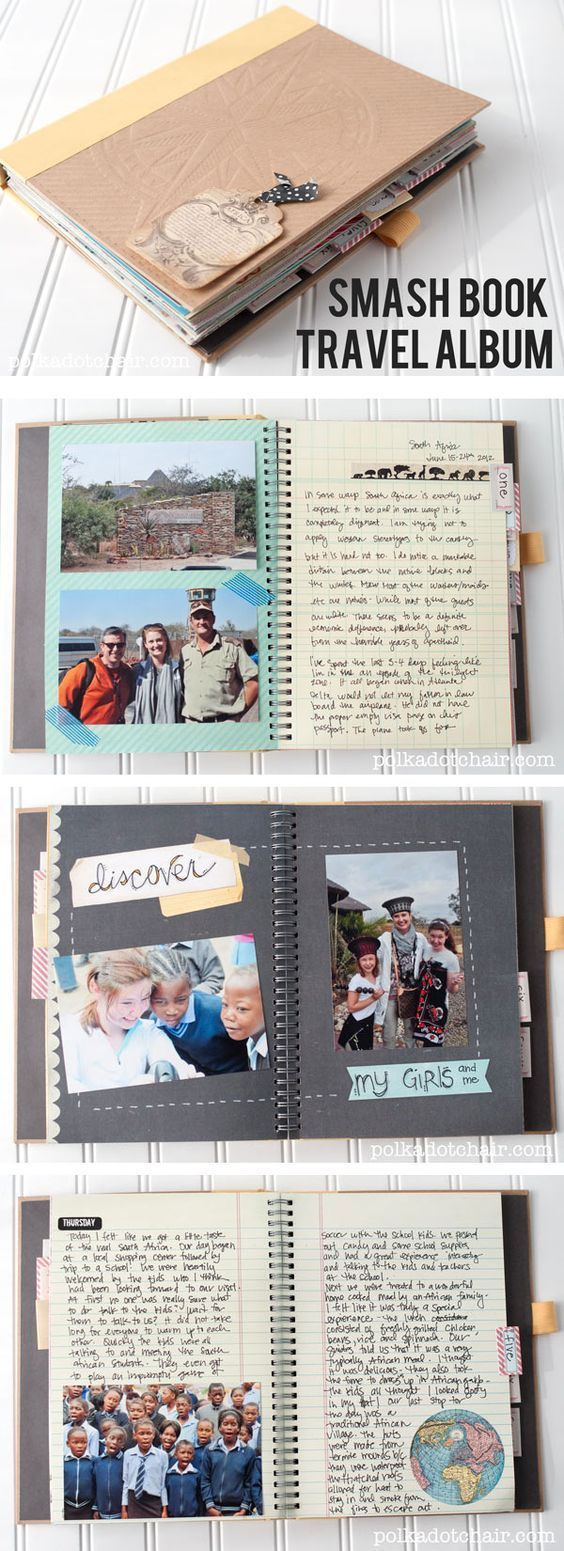 Ideas for using a Smash book to keep a travel journal and scrapbook of your vaca...