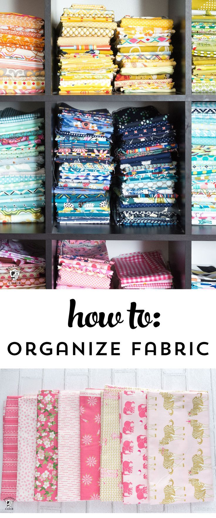 Keep your fabric stash organized ! Great tips for how to organize fabric by colo...