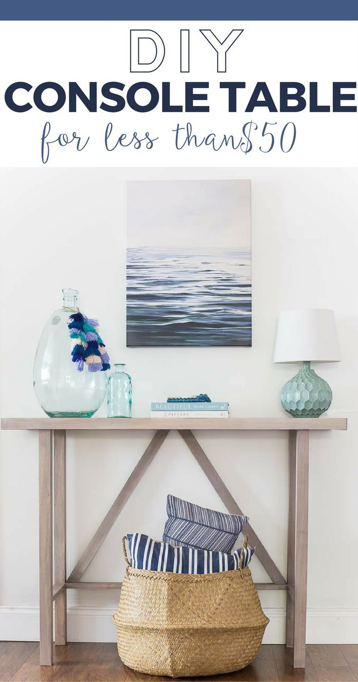 This beachy DIY Console Table gives you all the beach house vibes for a super lo...