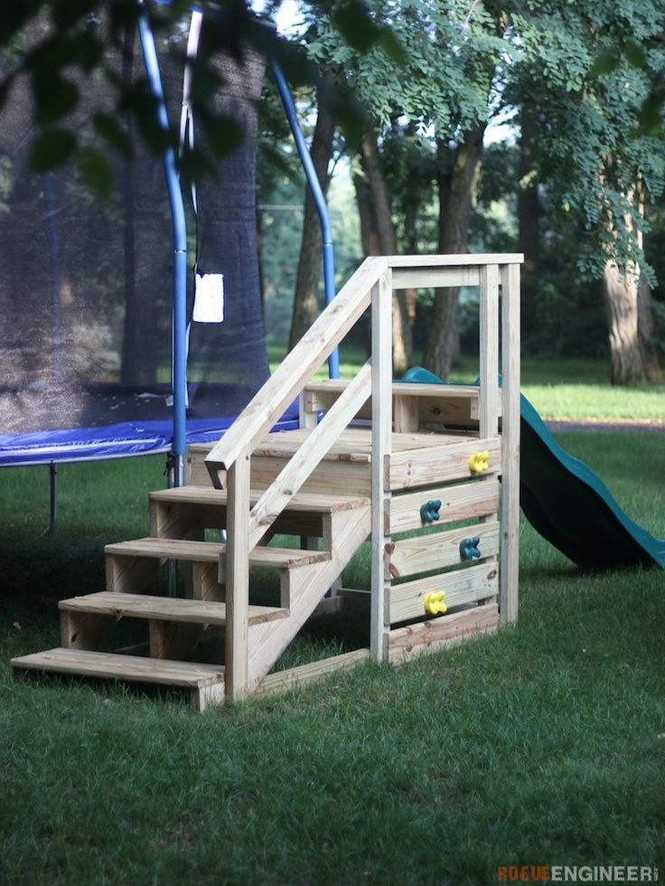 Trampoline Stairs with Slide - Free and Easy DIY Plans  | rogueengineer.com #Tra...