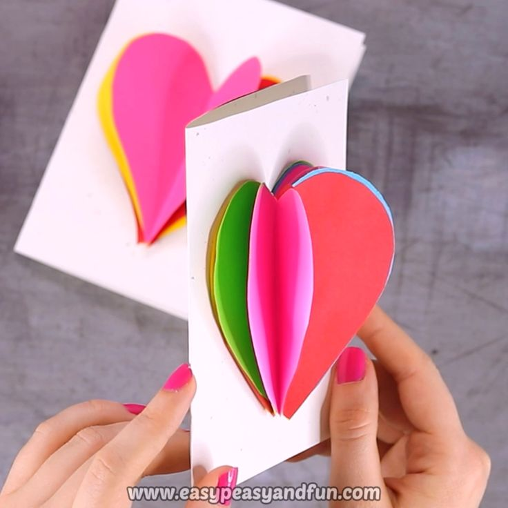 Diy Valentines Day 3d Heart Card Valentines Day Craft For Kids
