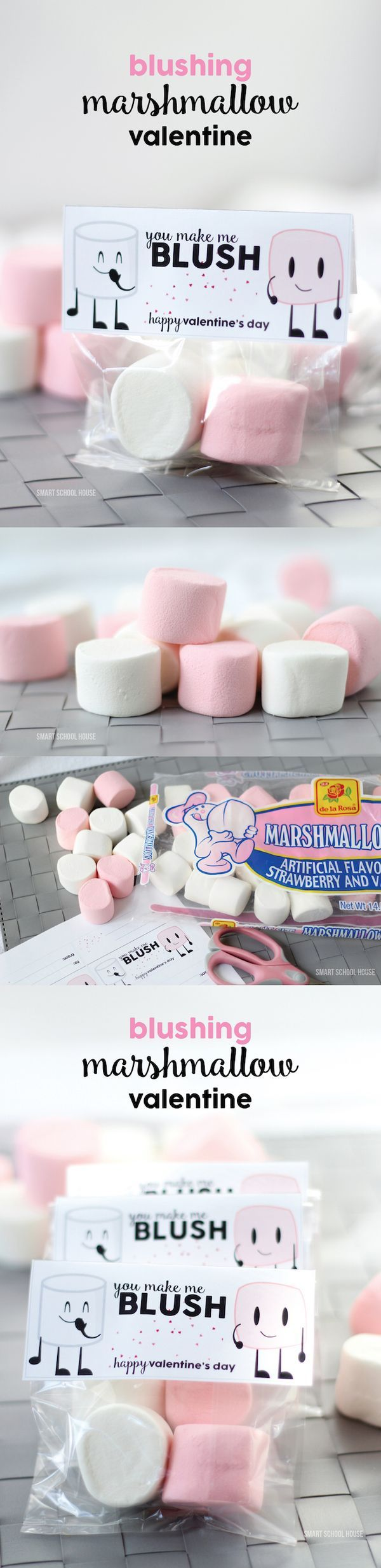 Blushing Marshmallow Valentine - an easy, inexpensive, and cute DIY Valentine id...