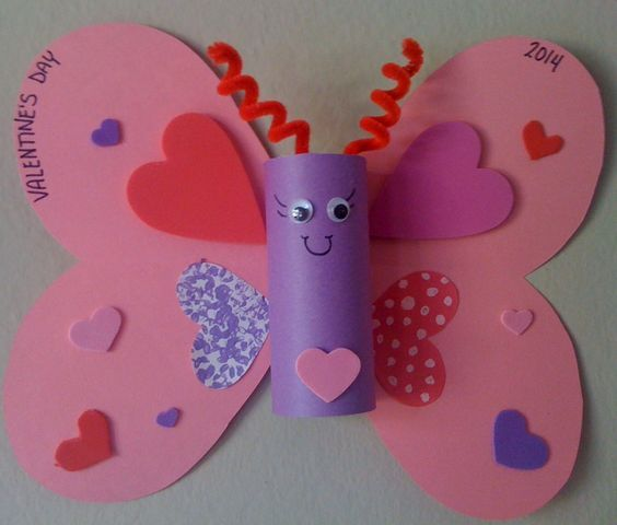 Cardboard Roll Butterfly | DIY Valentines Crafts for Kids to Make | Easy Valenti...