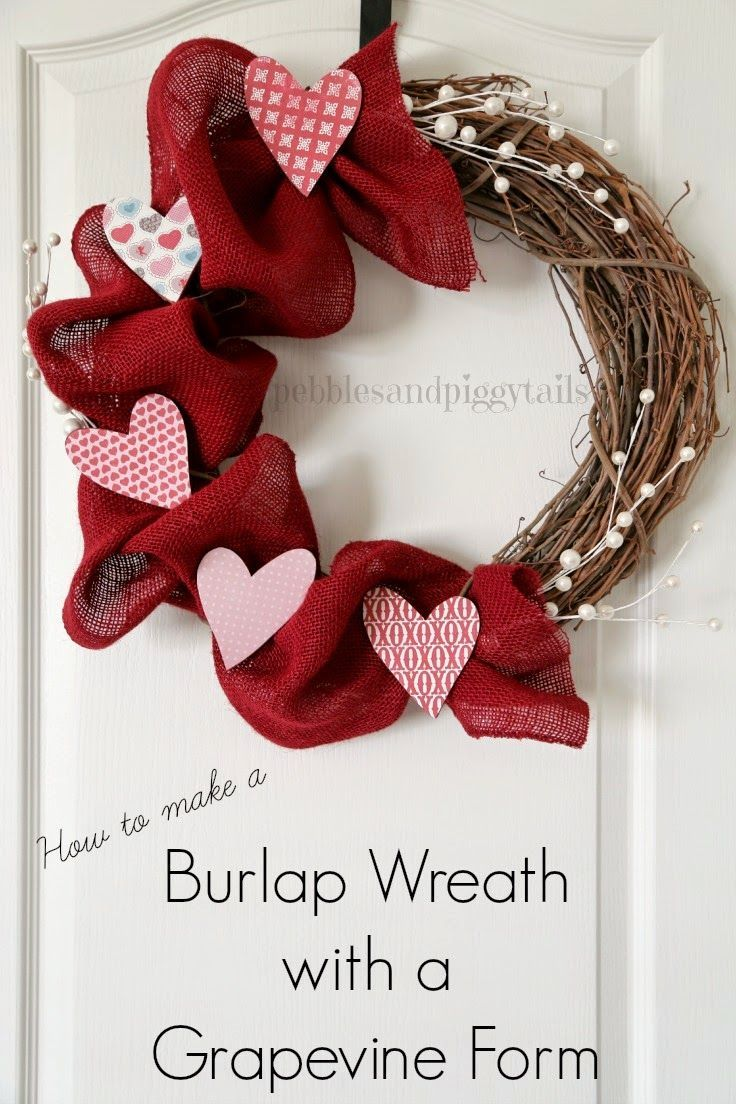 DIY Gifts : DIY Valentine Wreath with Burlap and Grapevine
