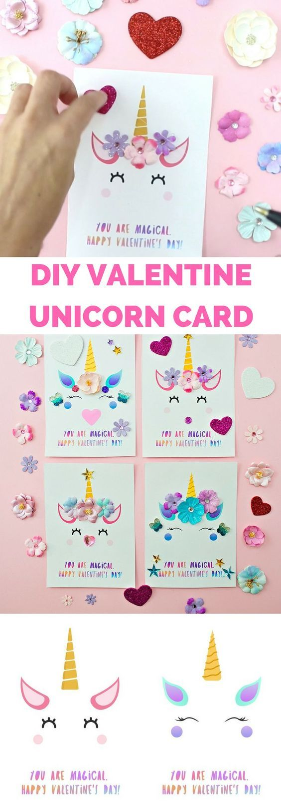 DIY Valentines Day : DIY Unicorn Valentine Cards  Printable template