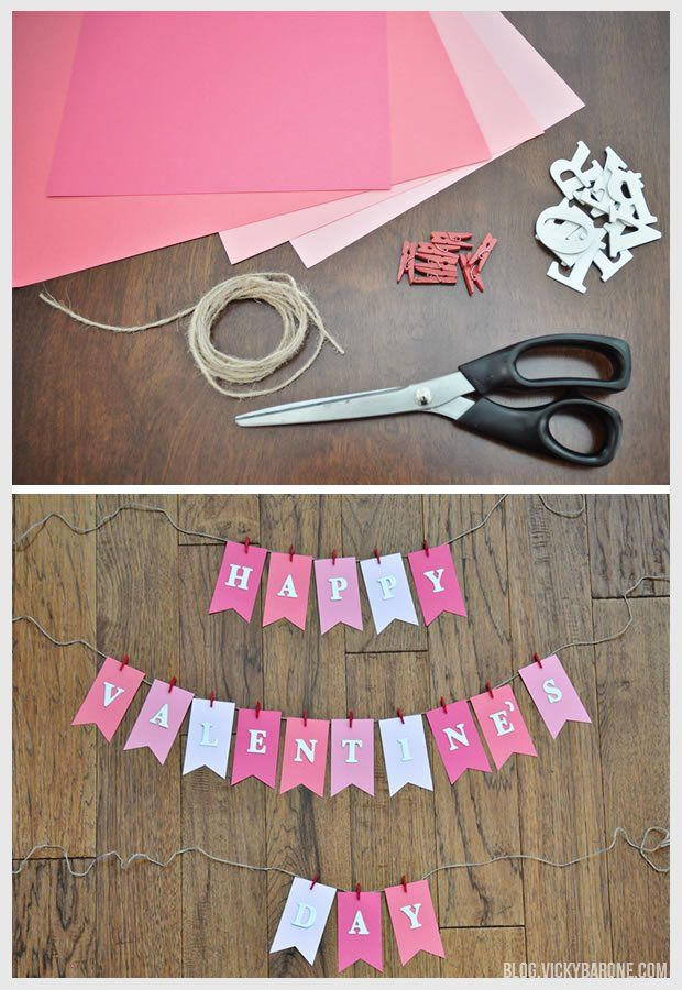 DIY Valentine's Day Garland   Vicky Barone   DIY Valentine's Day crafts ...