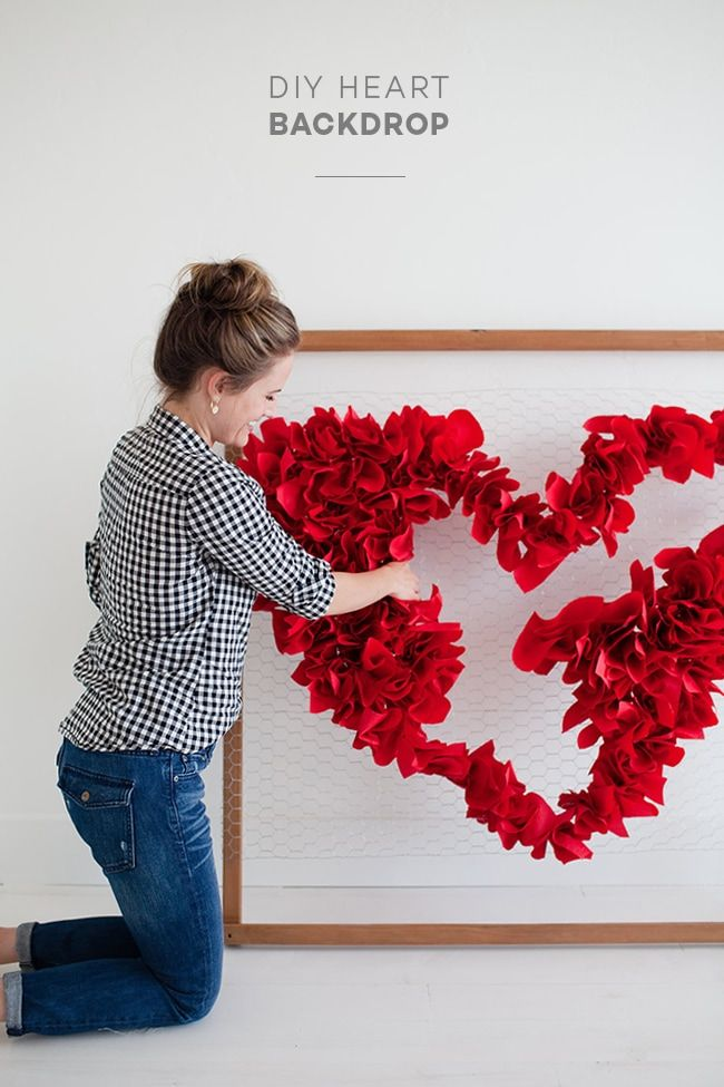 DIY Valentine's Day Heart Backdrop - 8 DIY Valentine's Day Decorations for...