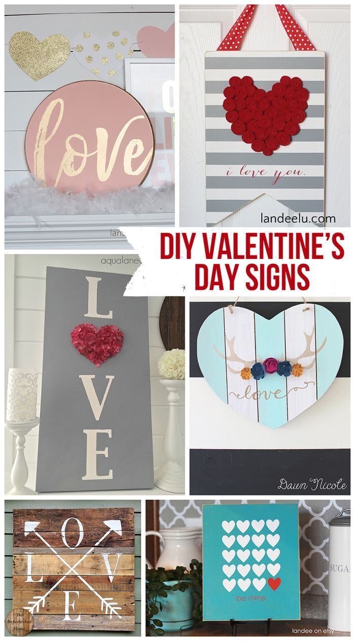 DIY Valentine's Day Signs | landeelu.com   So many fun DIY signs to make for Val...