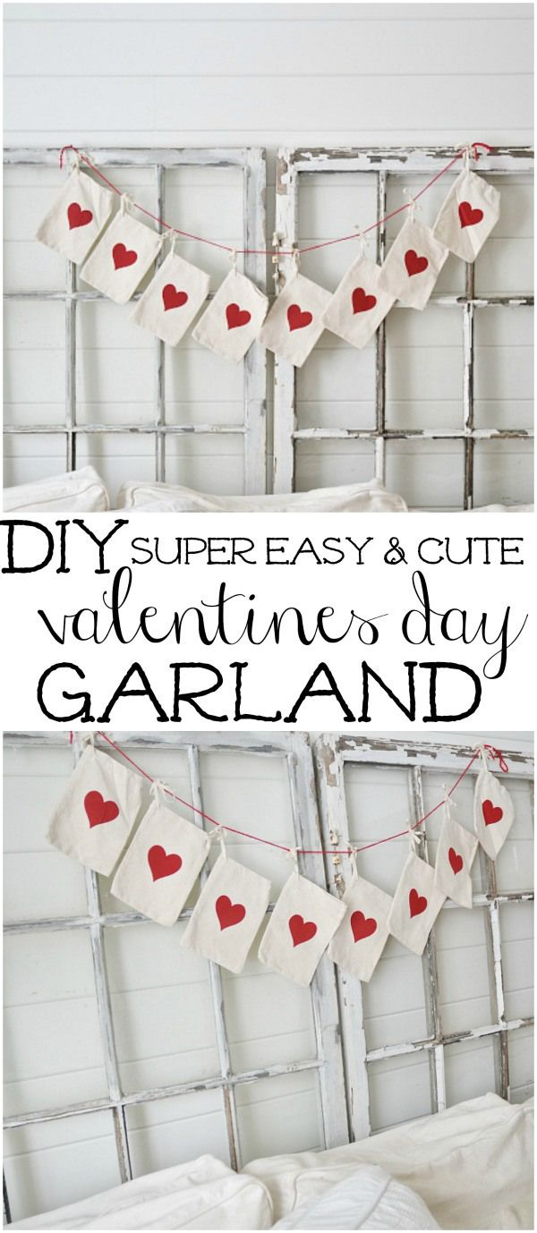 DIY super easy valentines day garland - Great for neutral valentines day decor!
