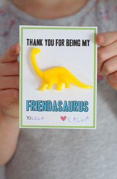 Dinosaur valentine free printable on aliceandlois.com