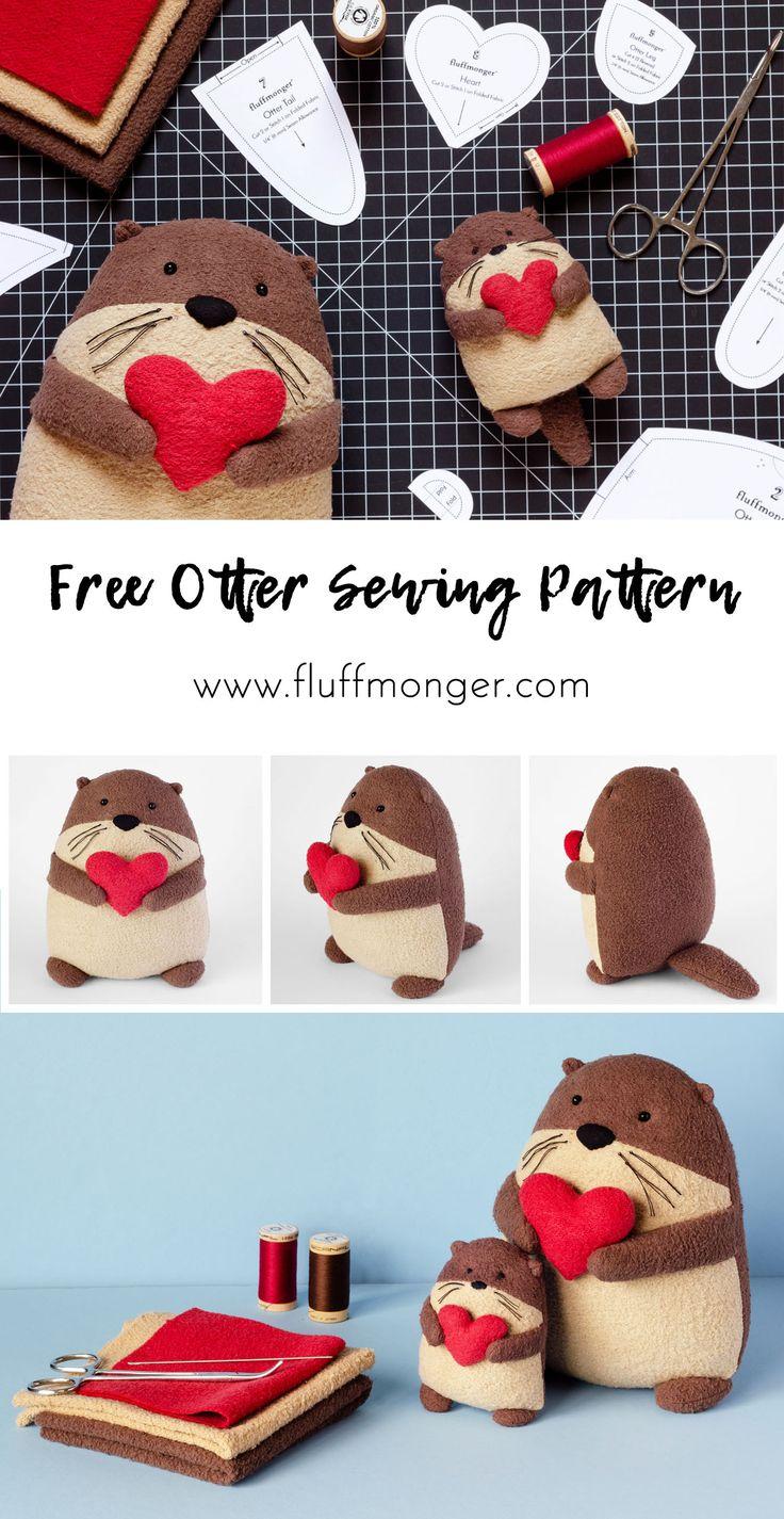 Free Otter Sewing Pattern by Fluffmonger — DIY Plush Otter, DIY Gifts, Stuffed...