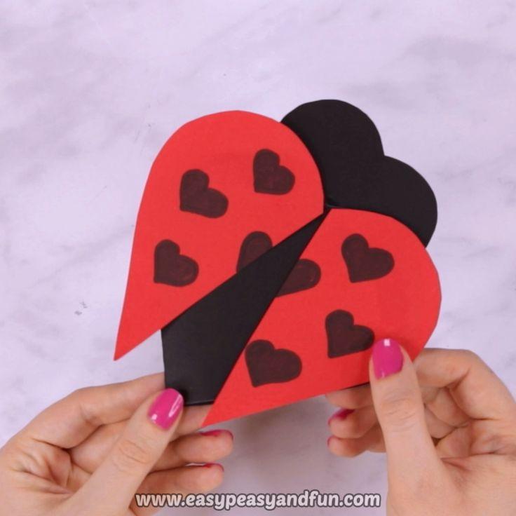 Diy Valentines Day Heart Ladybug Craft For Kids Diyall Net